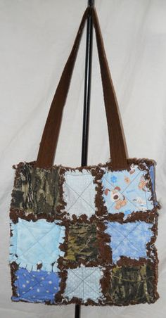 Rag Quilt Purse Diaper Bag Puppies Blue Brown Baby Boy Minky Quilted Camo New | eBay