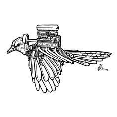 Day 2 of #Inktober 2014 by #GIGART. Some type of #HotRod #Bird Hybrid.