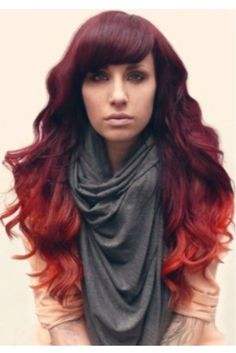 red ombre hair. this is how mine is colored, only short
