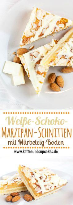 Wei??e-Schoko-Marzipan-Schnitten: M??rbeteig-Boden, eine dicke Marzipan-Schicht und ein Belag aus Mandeln mit einer wei??en Schokoladen-Glasur. Ein Muss f??r Marzipan-Fans!