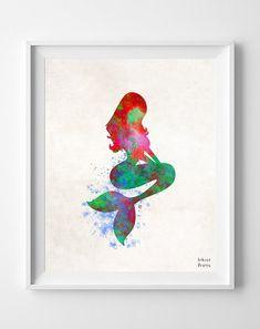 Mermaid Watercolor Disney, Print, The Little Mermaid Painting, Poster, Illustration Art Paint, Watercolour, Wall, Fine, Home Decor [NO 184]