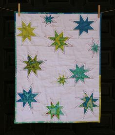 color, mini quilts, wonki star, star quilts, hand stitching, quilting stars, quilt idea, hand quilting, summer houses