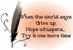When the world says 'give up'. Hope whispers... Try it one more time.   Never lose hope.
