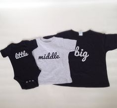 What a cute shirt set to uniquely set all of your children apart yet also bring them together.  What a cute shirt set to uniquely set all of your children apart yet also bring them together.  When ordering this set, you MUST include a message indicating which size in EACH shirt you need as we...