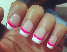 Nail Art #Pink #Hot #French #White Good for when white tips grow out.