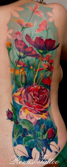 Remis Cizauskas Tattoo | Garden of Flowers - this color work is sick and I love the negative space in the border
