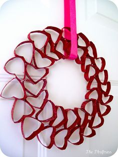 heart wreath made from tp/paper towel rolls- i have a ton of these I hope i can do this!