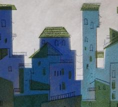 Detail of Italian hill town-enamel on copper