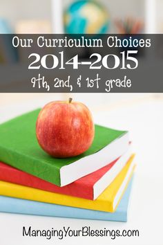 Our 2014-2015 Homeschool Curriculum Choices - 9th, 2nd, & 1st Grade :: ManagingYourBlessings.com