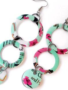 Recycled Soda Can Earrings Women Jewelry Arizona Tea Women Gift Handmade Tin Can Recycled Art Dangle Circle Geometric Earrings. $9.00, via Etsy.