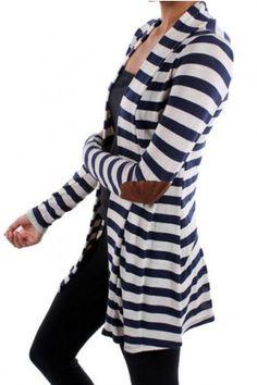 In Paris Striped Cardigan-Navy