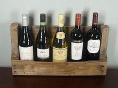 Caja de tablas de madera de pallet para botellas de vino