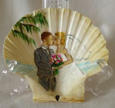 Wedding on a beach painting on a seashell by judithscreations, $18.00