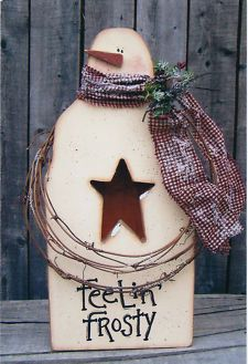 NEW Winter Wood pattern Primitive Country Snowman K183 Electric Candle Light