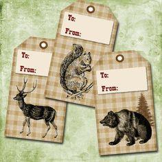 Woodland Animals on Plaid - download & print