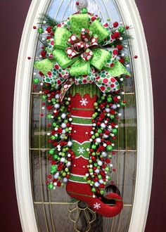 christma wreath, christmas wreaths, front door wreaths, whimsical christmas, front doors, bows, christmas stockings, the holiday, christmas door