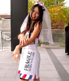 Pun Halloween Costumes: Mail Order Bride http://www.cosmopolitan.com/celebrity/fashion/punny-costumes-2013