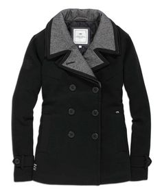 Love this Black & Gray Trim Peacoat on #zulily! #zulilyfinds