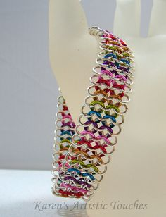 silver rainbow, style european, bracelets, chains, rainbow cuff, chain maill, cuff style, cuffs, chainmaill