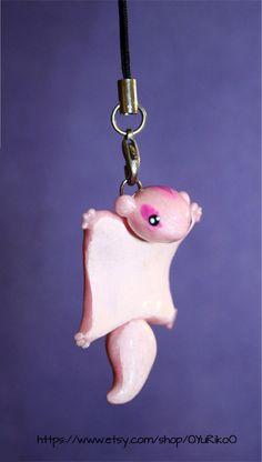 Cute flying squirrel polymer clay charm by OYuRikoO on Etsy, $8.00