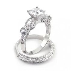 Bling Jewelry Vintage Wedding Engagement Ring Set Round 2-ct