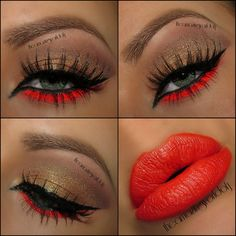 Fire - edgy neon red liner on the lower lashline (would pair it with a less intense lipcolor)