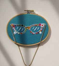 60s Glasses Embroidered Wall Art