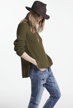 sneak peek / Madewell Fall 2014 catalog. Madewell tracklist pullover worn with the slim boy jean and  Biltmore® & Madewell fedora. #fallmadewell
