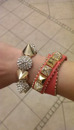 Rhinestone Gold Spike Bracelet