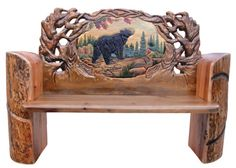 Carved Bear Log Bench