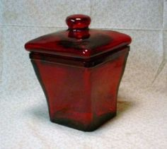 Image Detail for - Ruby Red Glass Candy Dish   eBay