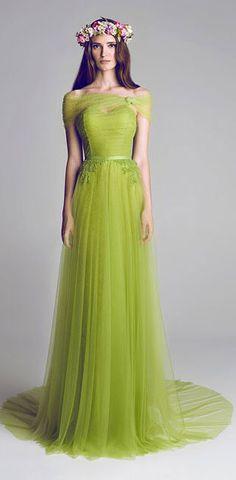 vestido para las damas de la boda verde