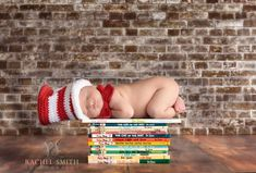 Cat in the Hat, Baby Hat and Bowtie, Dr. Seuss Inspired Crochet Cat in the Hat Set, Red and White Striped, Unisex, Newborn Photo Prop. $39.99, via Etsy.