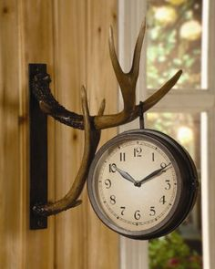 Deer Park Antler Wall Clock Two Sided Metal Rustic Cabin Lodge Hunting Decor