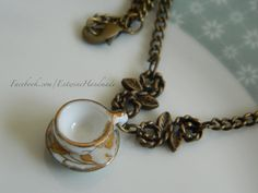 Tea Cup Necklace Steampunk Alice in Wonderland by EntwineHandmade