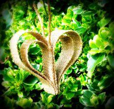 Burlap heart ornaments