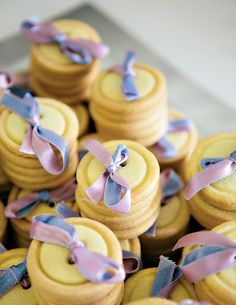 Ribbon threaded button cookies :)