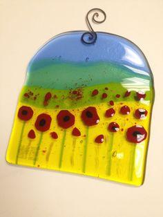 field of poppies fused glass watercolor suncatcher