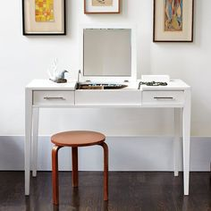 Have this in chocolate brown and love it! Always wanted a vanity since I was a little girl but wanted a modern one.