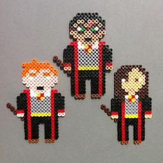 Harry Potter and friends perler bead magnets.