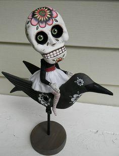 Day of the Dead Sugar Skull Bird Doll Sculpture