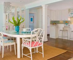 Kitchen and Dining space created by removing a wall and adding columns ::  Home of Jenny Andrews featured at House of Turquoise