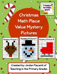 Christmas Math Place Value Mystery Pictures from Teaching in the Primary Grades on TeachersNotebook.com -  (74 pages)  - Practice place value with these fun place value themed mystery picture.
