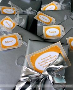 A gift to open every month through the whole year- free printable tags too!  Love this.