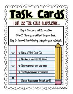 FREEBIE!  Task Cards Direction Sheet and Tub Labels... works with all task cards. :)