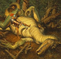 Beowulf's Dragon - This dragon was attacking villages in Beowulf's kingdom because a golden cup was stolen from him, which had never been done before. When he hears of the beast attacking the villages, he and his men go to destoy it. As the battle begins, all save one of Beowulf's men had abandoned him, despite the fact that they pledged comatatus to him. Beowulf's fight against the dragon was his last, and he died shortly after after defeating it.