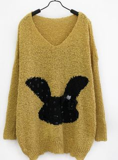 Cartoon Rabbit V Collar Sweater Yellow$42.00