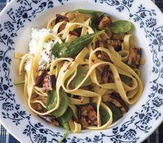 eggplants, italian food, grilled eggplant pasta, fettuccin, grilled eggplant recipes, ricotta, healthi food, grill eggplant, spinach pasta recipe