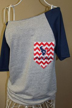 Houston Texans Pocket Off-the-Shoulder Shirt Chevron Football Toro Bull on Etsy, $32.00