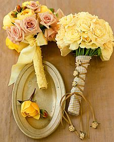 BOUQUET WRAPS: pattern ribbon with braid of shoe string ribbon and silk rose pins/ yellow double faced satin ribbon dotted with ivory pearl headed pins